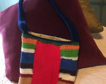Multi-color Big Stripe Crochet Bag