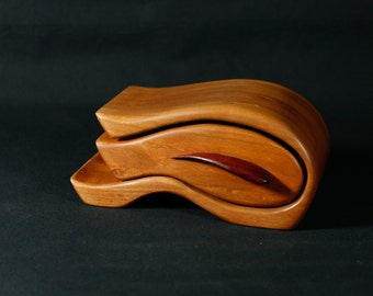 Cherry and Padauk Sculpted Bandsaw Jewelry Box (Surf)