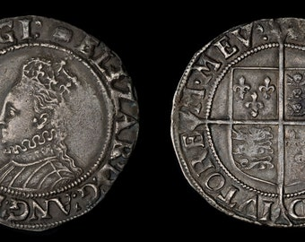 Tudor English Antique Coin Genuine Elizabeth I Solid Silver Shilling 1592 - 1595, British, Elizabethan