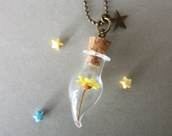 SALE : Yellow Flower daisy bottle necklace Summer Gift for her