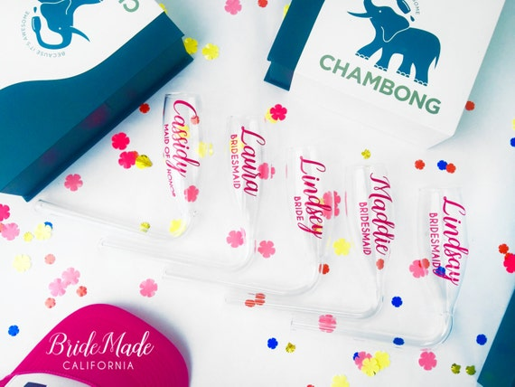 Bridal party personalized chambong bridesmaid champagne