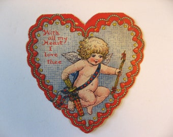 With All My Heart I love Thee. 1930 vintage Valentine card die-cut cherub lace heart. Poem inside.