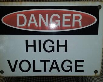 Vintage porcelain enamel Danger sign