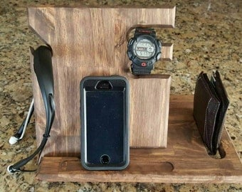 Wood Cell Phone Docking Station with Key Holder, Pen Holder, Wallet and Watch Organizer