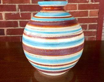 Mid Century Striped Ceramic Vase