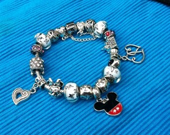Pandora inspired Mickey & Minnie charm bracelet 7 1/2""