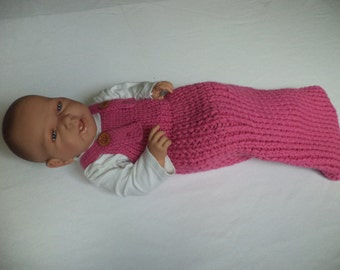 Baby sleeping bag cocoon Merino Wool knit 60 cm sleeping baby wool