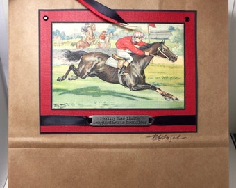 Horse Gift Bag - Steeplechase - Vintage Horse  - Horse Gift - Handmade
