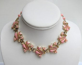 Floral Choker Necklace, Floral Choker, Flower Necklace, Enamel Necklace, Enamel Choker, Enamel Necklace, Botanical Necklace, Pink Necklace