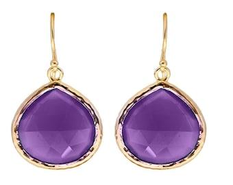 Beautiful Amethyst Teardrop Earrings - Sterling Silver Gilded