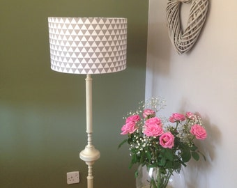40cm Drum Lamp Shade RETRO 70s look fabric GREY WHITE