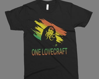 one lovecraft  t-shirt  funny  t-shirt  on American Apparel gift  t-shirt  tee
