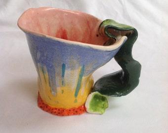 Hand made ceramic mug, unusual gift, artist mug, ceramic mug