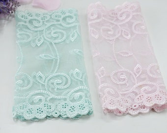 "5 yard 20cm 7.87"" wide aqua/pink mesh embroidery lace trim trims ribbon L22K174 free ship"