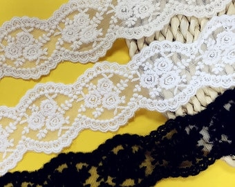 "14 yard 5.5cm 2.16"" wide black/beige/ivory rose tulle mesh gauze fabric embroidered tapes lace trim ribbon 1i9 free ship"