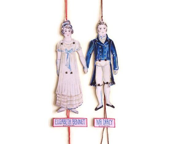 Elizabeth Bennet & Mr Darcy - Pride and Prejudice - Jane Austen - Jumping Jack - Pantin - Puppet Paper Doll Toy - Card - Gift - Party Decor