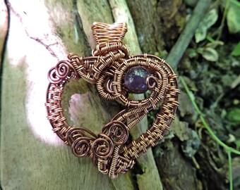 Amethyst and Copper Heart Wirewrap Pendant