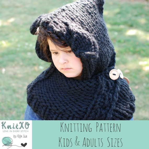 Dog Cowl Knitting Pattern : Knitting Pattern Puppy Dog Hooded Cowl Multiple Sizes Child and Adult Size Co...