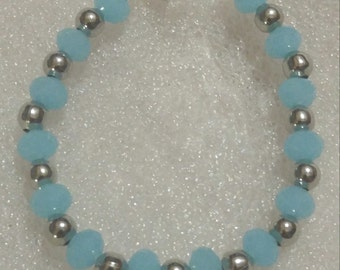 Blue and Antique Silver Beaded Bracelet