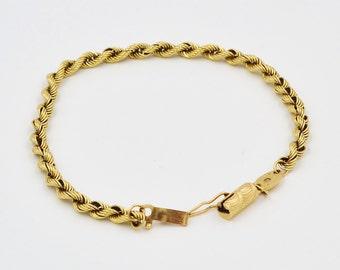14K Yellow Gold Twisted Silk Rope Bracelet