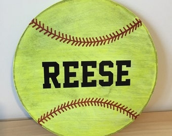 Personalized wooden distressed softball name sign