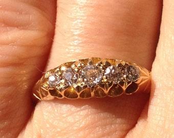 Vintage Antique Victorian 5 Diamond Mine Cut 18k Gold Wedding Ring