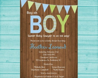 Boy Baby Shower Invitation, Rustic Baby Boy Shower Invite, Printable, Baby Shower Invite, Its a Boy, Baby Shower Invite, Baby Boy,