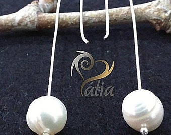 silver earrings and pearl