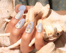 Gray Pearl and Opal Press On Gel Nails