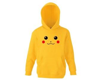 Kids Pikachu hoodie pokemon inspired funny children party school cool unique fashion unisex