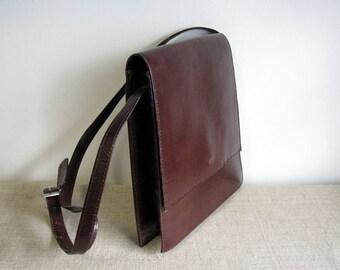 vintage purse genuine leather messenger/shoulder bag checkered crossbody bag with original leather tag Messenger bag cognac brown JACK