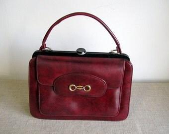 Soviet bag red bordo imitation leather handbag with handle VEGAN leather Red imitation leather purse slavic design russian bag Made in USSR