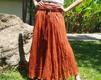 Skirt Dress Brick Boho Cotton Coconut Shell Beach with 3 styles (Long skirt or dress)