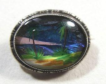 Vintage Sterling Silver Butterfly Wing Tropical Scene Brooch by Thomas L.Mott.