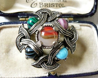 Vintage Scottish Signed Miracle Celtic Agate Glass Shawl Brooch/Pin