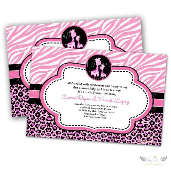 Giraffe Safari Invitations & Blank Thank You Card to match