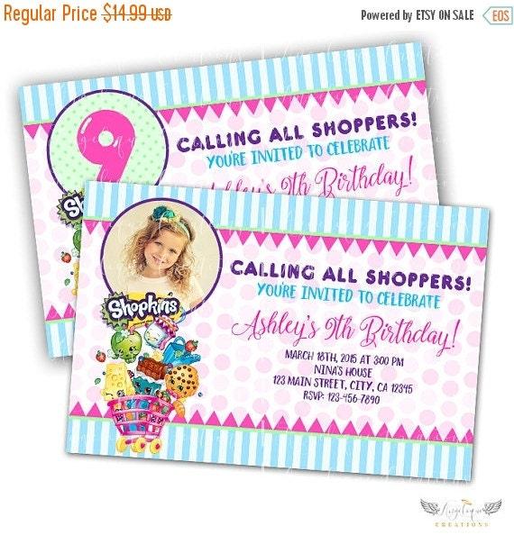 Shopkins Birthday Invitations & Matching Blank Digital Thank You Card