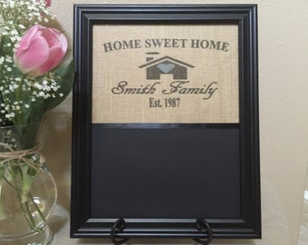 Personalized Picture Frame, Chalkboard Picture Frame, Burlap Picture Frame, Home Decor, Gifts For Her, Picture Frames, Chalkboard, Gifts