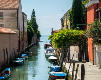 Digital download photo of boats in Venice, Italy. Fine art photography, travel photography, landscape photography