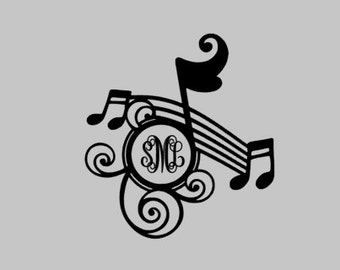 music note monogram, monogram, music monogram, name decal, personalized decal, music decal