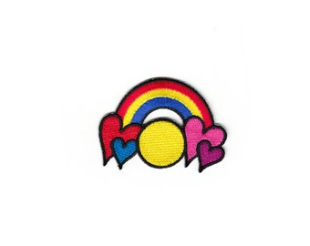 Cute Vintage Rainbow Heart Sun Cloud Kids Embroidered Sew Iron On Child Biker Patches Patch Flowers Funny Appliques Alphabet For Jeans