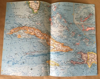 1962 National Geographic Map West Indies.