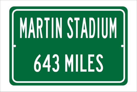 Custom College Highway Distance Sign to Martin Stadium | Home of the Washington State University Cougars | WSU Cougars Football | WSU Cougar