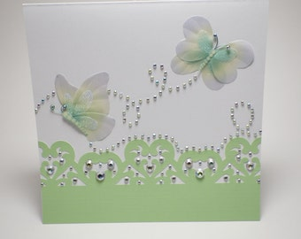 Handmade Lime Green Rhinestoned Lace Butterfly Card