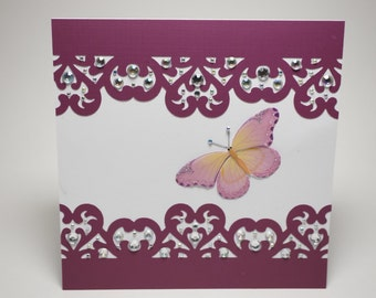 Handmade Maroon Rhinestoned Paper Lace Butterfly Card