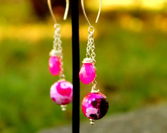 Hot Pink (Fuschia) dyed Agate and Chalcedony drop earrings