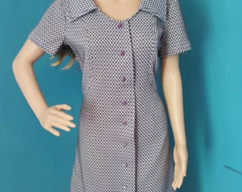 1960s polyester gray and purple shift dress