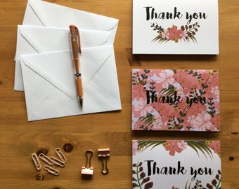 A6 'Thank you' Floral Printed Cards (Pack of 3)
