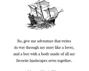 Adventure Original Poetry 4x6 Inch Print