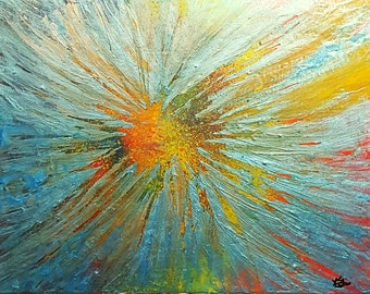 Modern Art Resin Arcylics Abstract Painting Star Burst' Beautiful Color Explosion Art Deco Chakra Flow Meditation Room